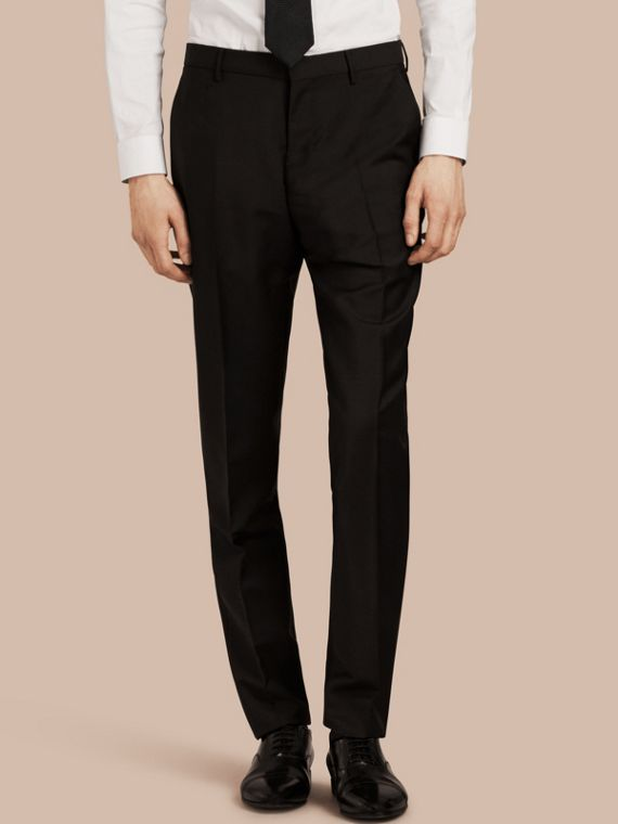 Modern Fit Wool Mohair Trousers Black