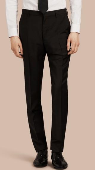 Pantaloni dal taglio moderno in lana e mohair