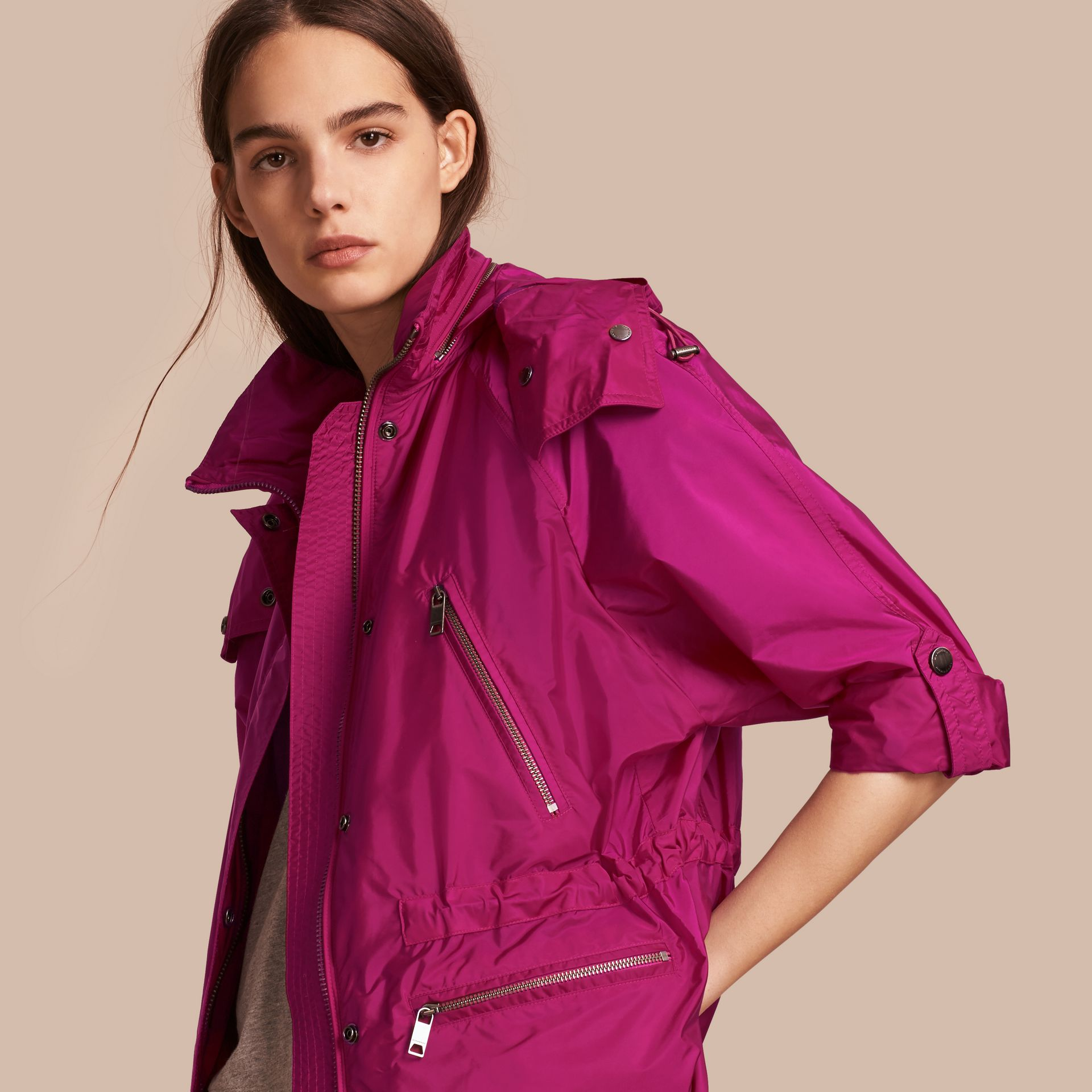 Showerproof Parka Jacket with Packaway Hood in Fuchsia - gallery image 1