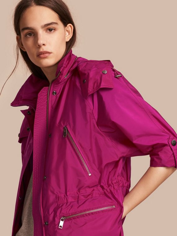 Showerproof Parka Jacket with Packaway Hood in Fuchsia