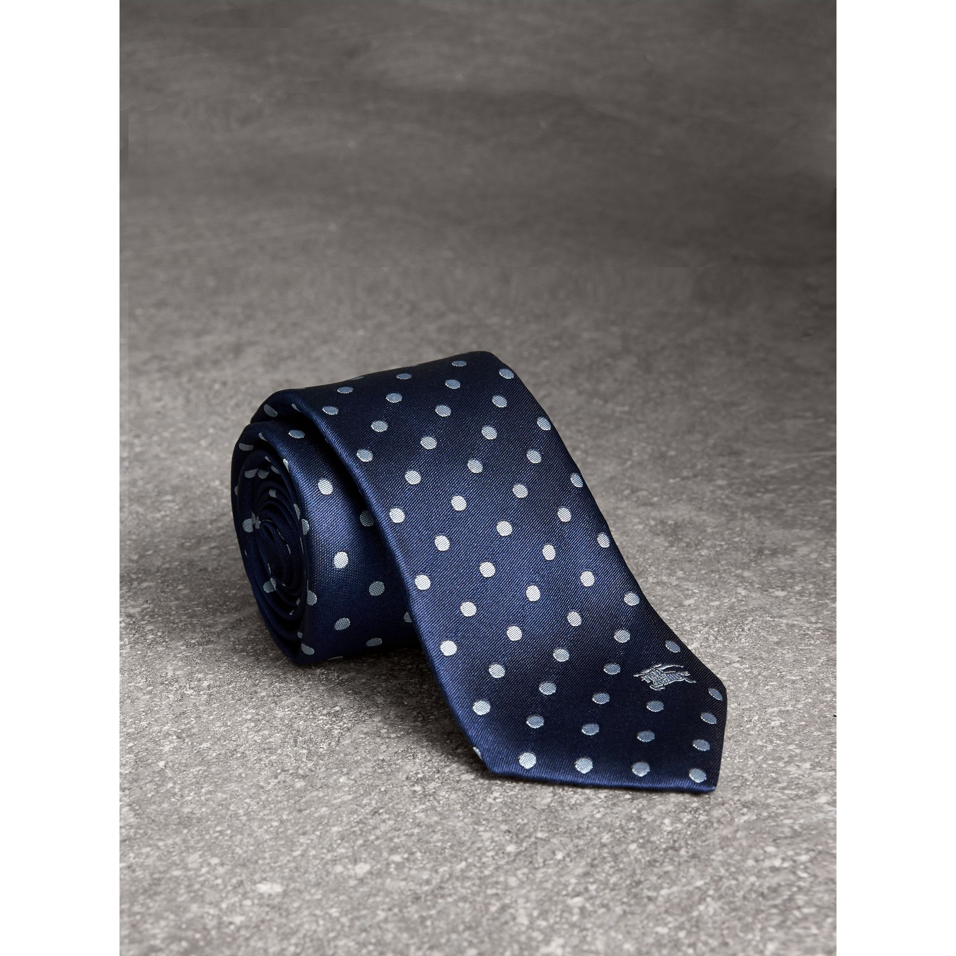 Modern Cut Polka-dot Silk Tie in Bright Navy - Men | Burberry Hong Kong - gallery image 1