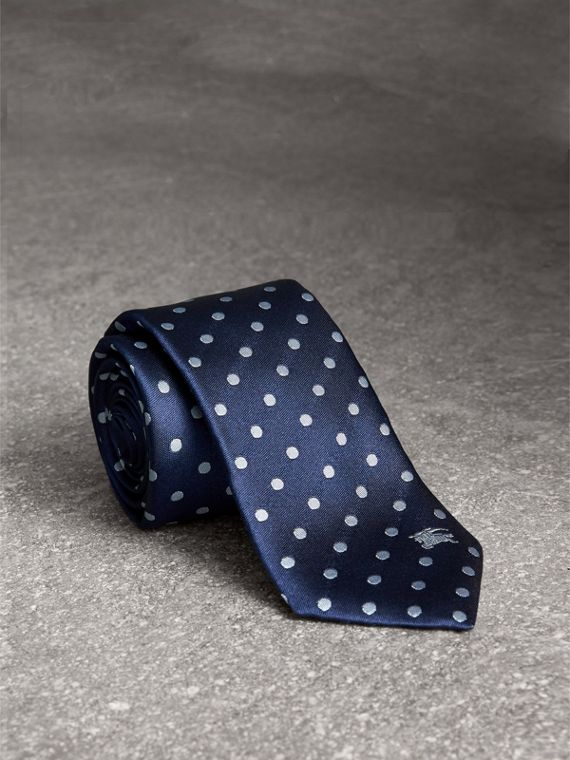 Modern Cut Polka-dot Silk Tie in Bright Navy