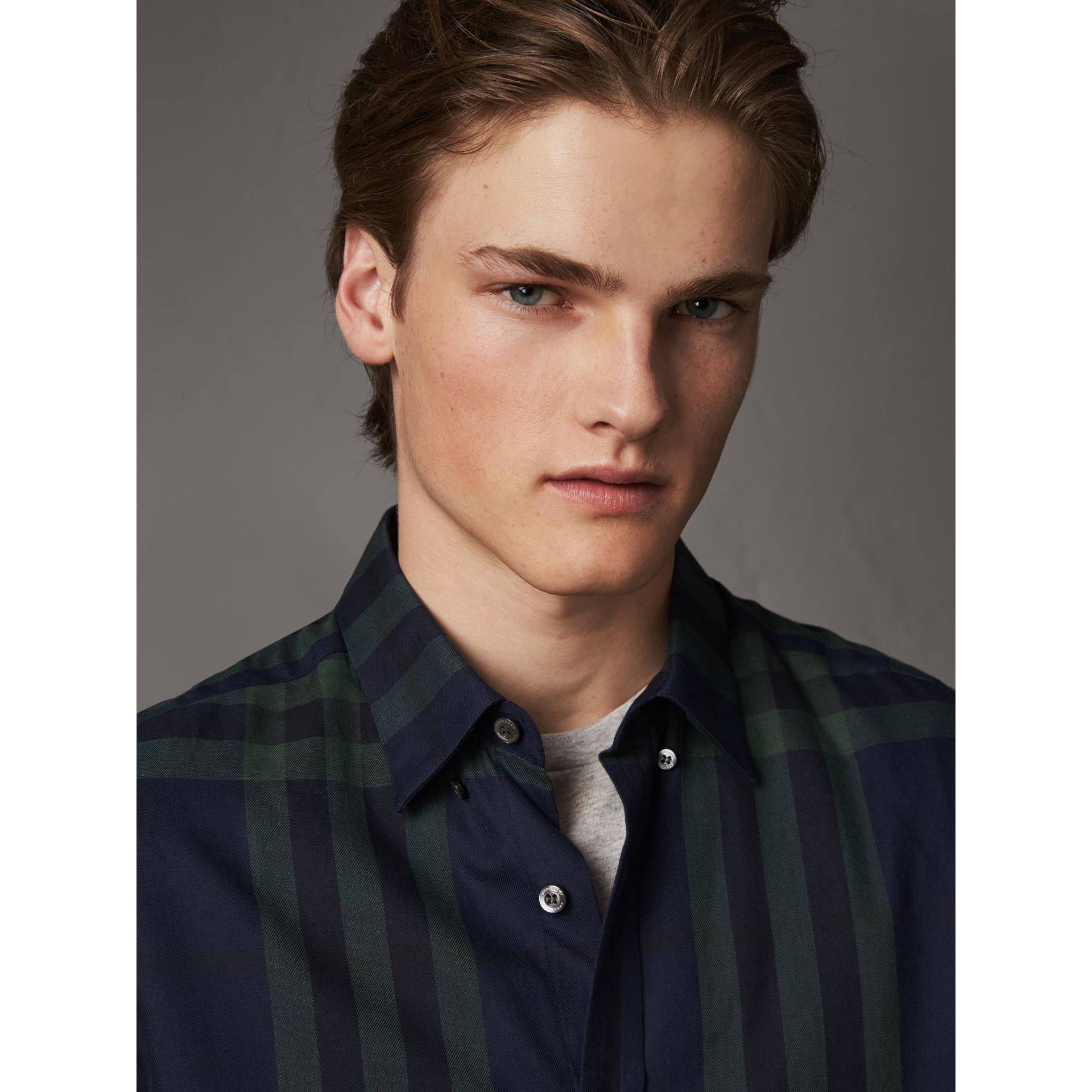Check Cotton Cashmere Flannel Shirt in Navy - Men | Burberry Australia - gallery image 2