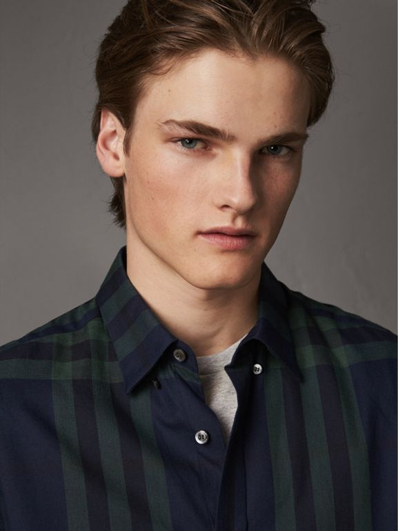 Check Cotton Cashmere Flannel Shirt in Navy - Men | Burberry - cell image 1