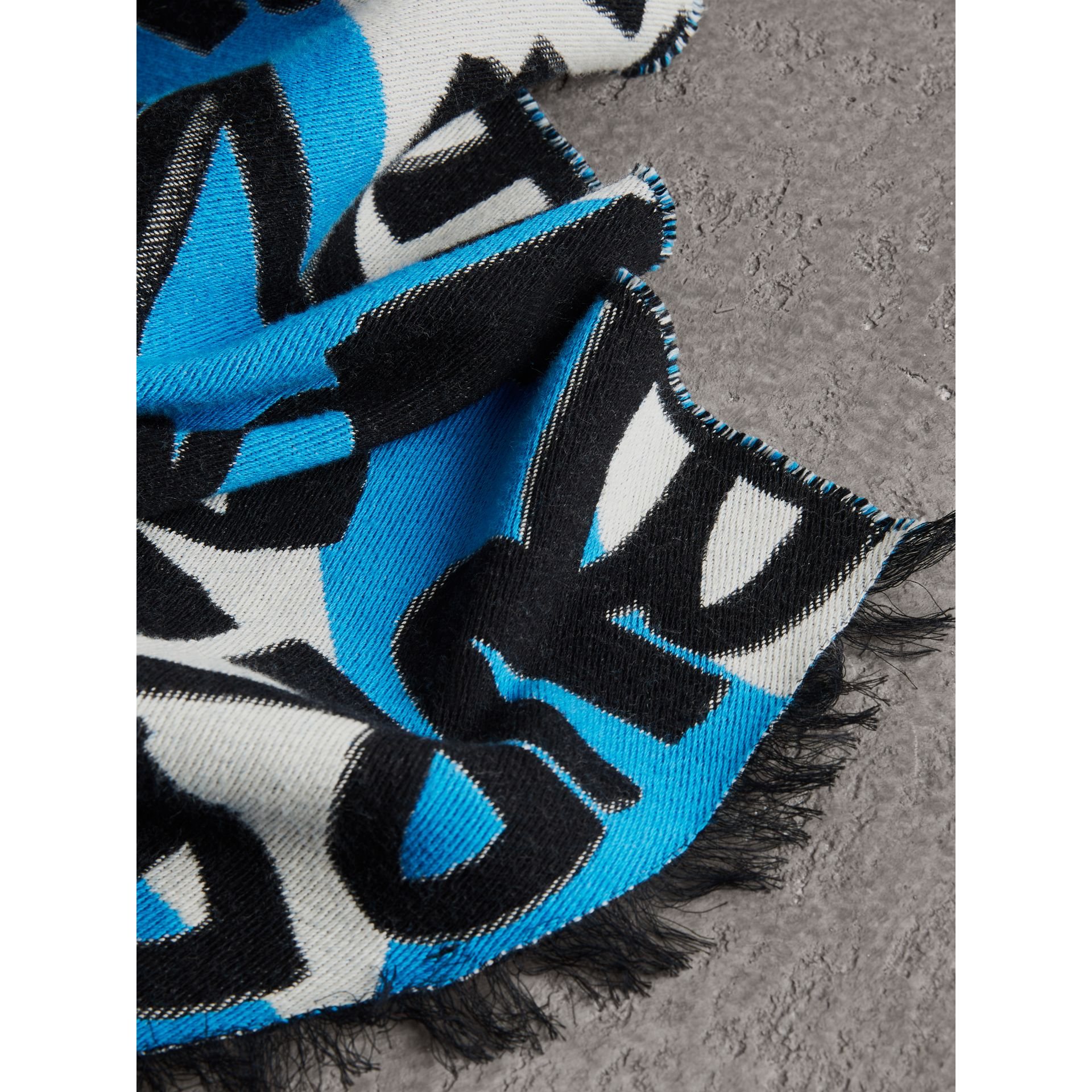 Graffiti Cotton Jacquard Scarf in Bright Sky Blue | Burberry Australia - gallery image 1