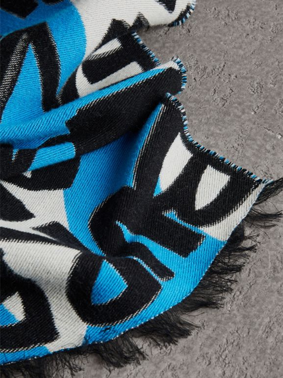 Graffiti Cotton Jacquard Scarf in Bright Sky Blue | Burberry Australia - cell image 1