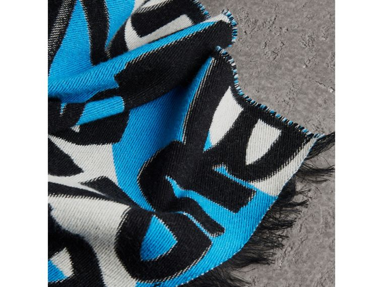 Graffiti Cotton Jacquard Scarf in Bright Sky Blue | Burberry - cell image 1