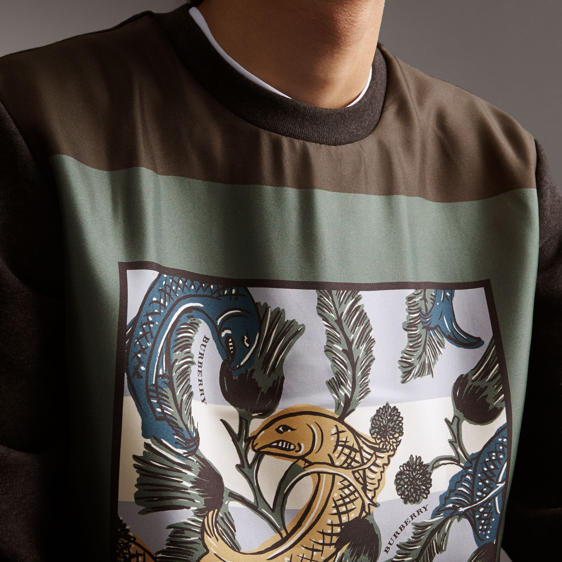 Unisex Beasts Print Silk Panel Cotton Sweatshirt in Charcoal Melange - Men | Burberry - gallery image 4