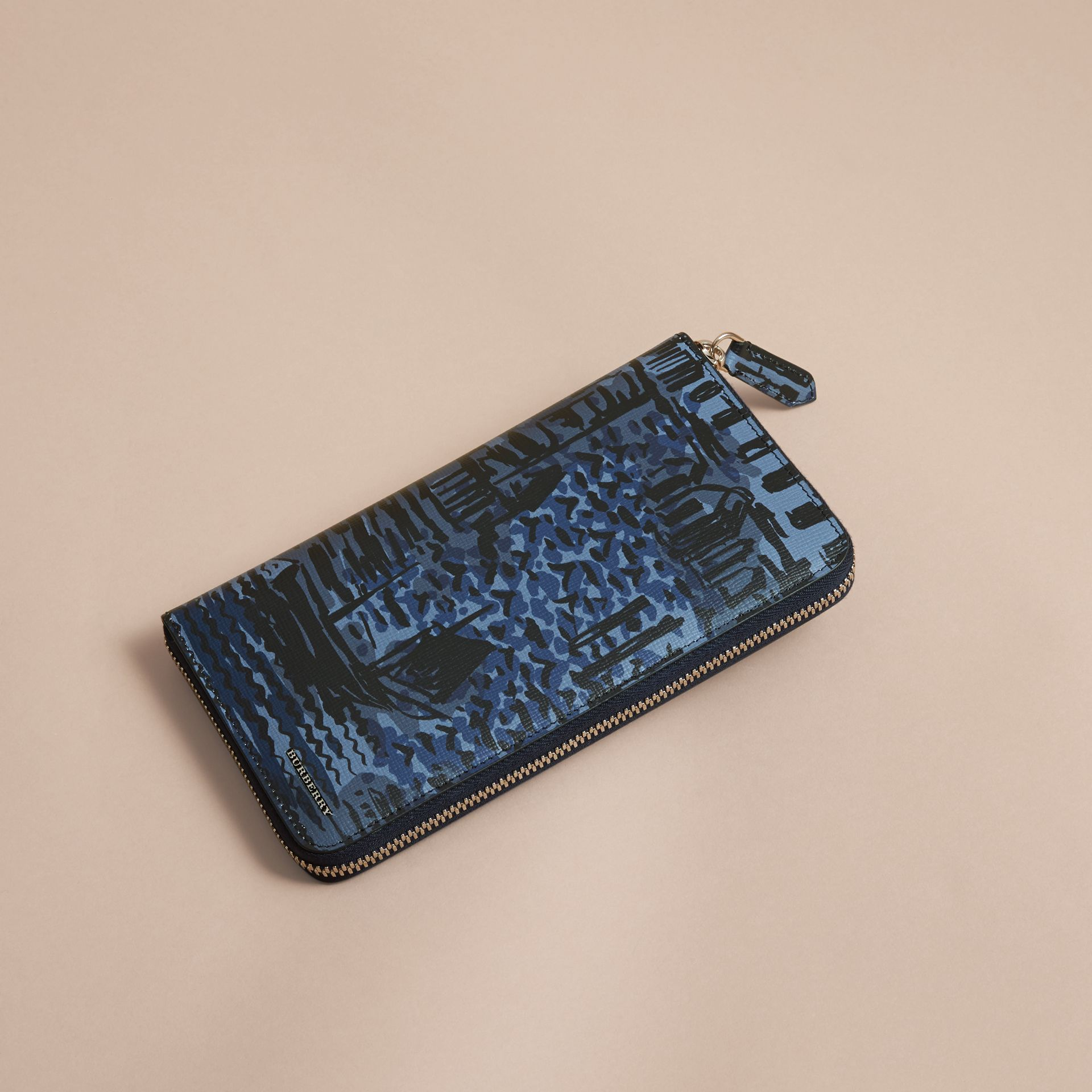 British Seaside Print London Leather Ziparound Wallet in Bright Navy - gallery image 4