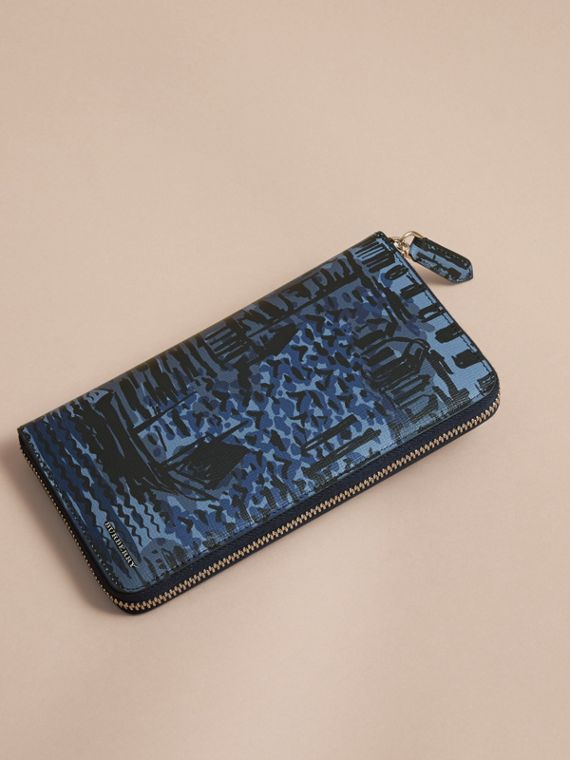 British Seaside Print London Leather Ziparound Wallet in Bright Navy - cell image 3