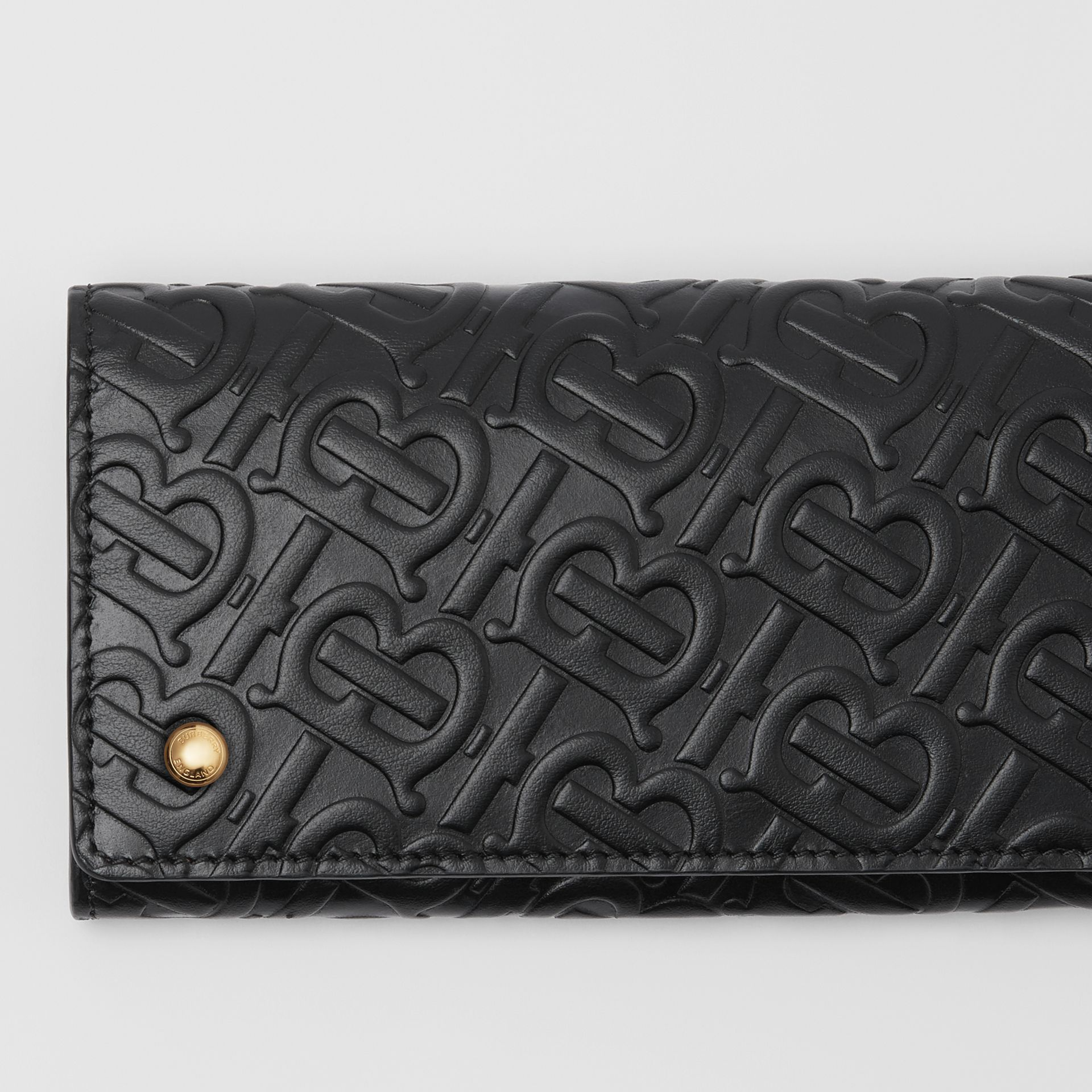 Monogram Leather Continental Wallet in Black - Women | Burberry United Kingdom - gallery image 1