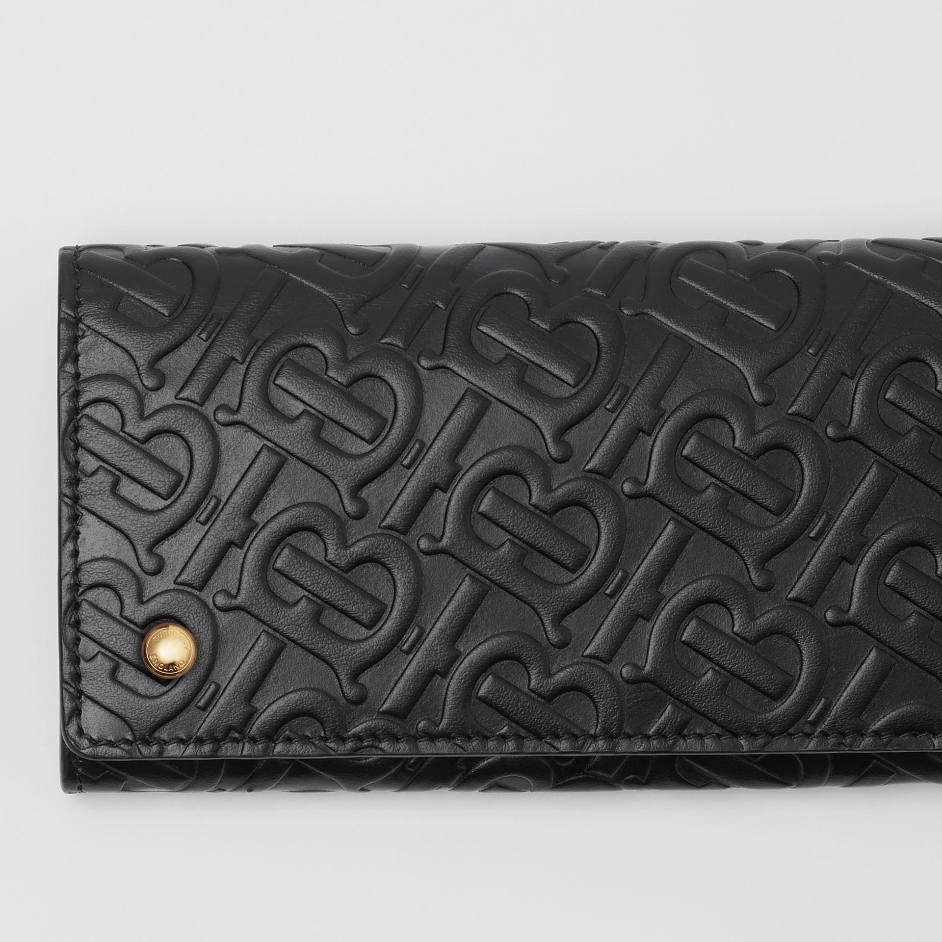 Lederbrieftasche im Kontinentalformat mit Monogrammmuster (Schwarz) - Damen | Burberry - Galerie-Bild 1