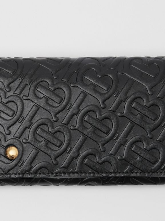 Monogram Leather Continental Wallet in Black - Women | Burberry United Kingdom - cell image 1