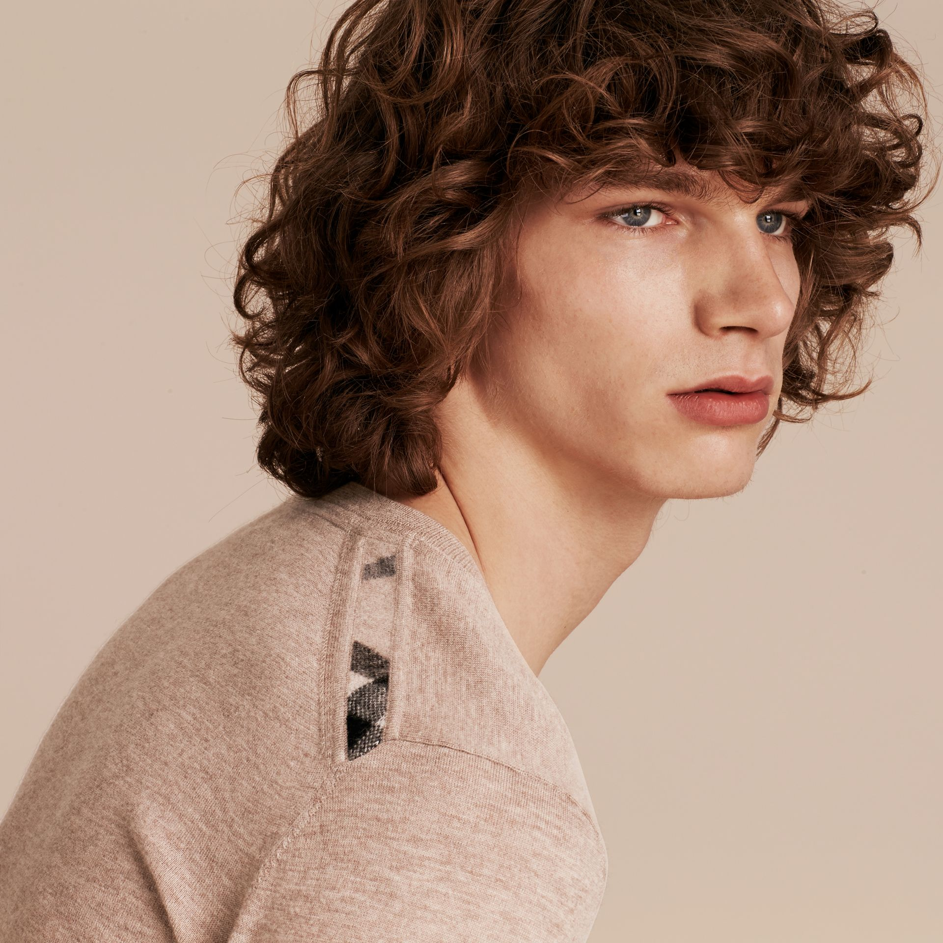 Lightweight Crew Neck Cashmere Sweater with Check Trim in Camel Melange - Men | Burberry - gallery image 5