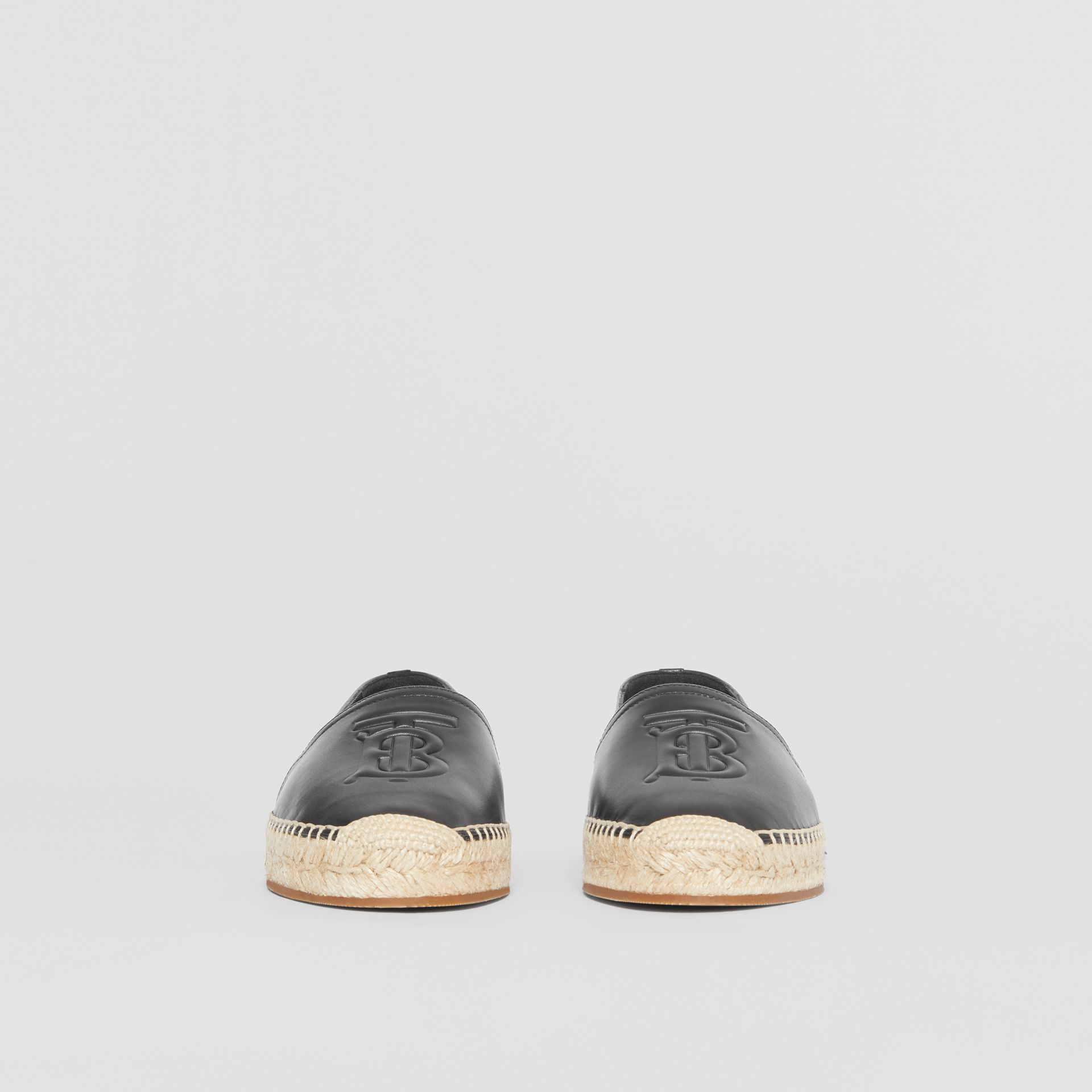 Monogram Motif Leather Espadrilles in Black - Women | Burberry - gallery image 3