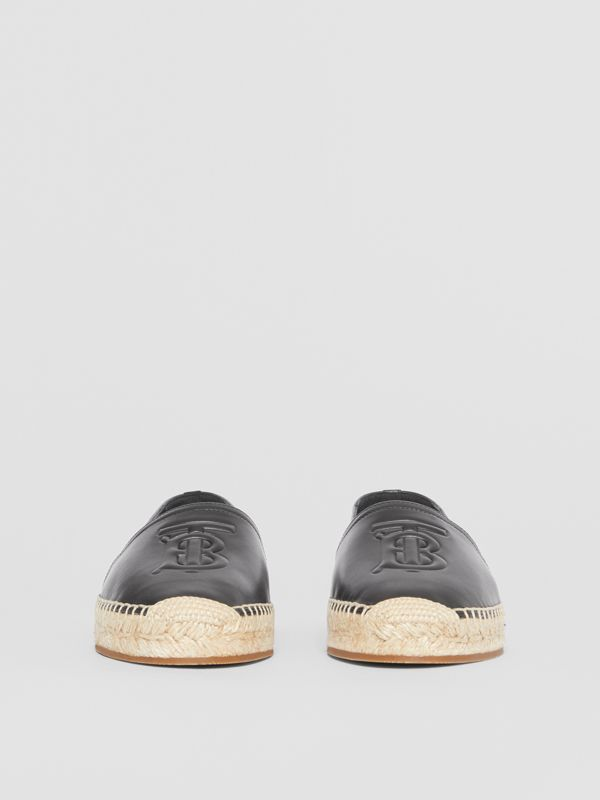 Monogram Motif Leather Espadrilles in Black - Women | Burberry United Kingdom - cell image 3