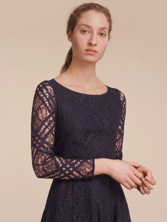 Check Lace Floor-length Dress