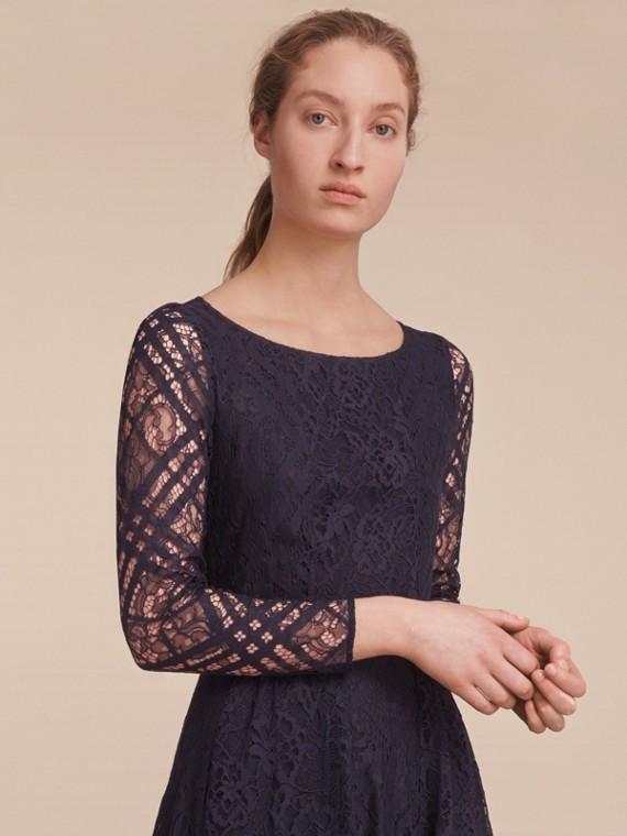 Check Lace Floor-length Dress