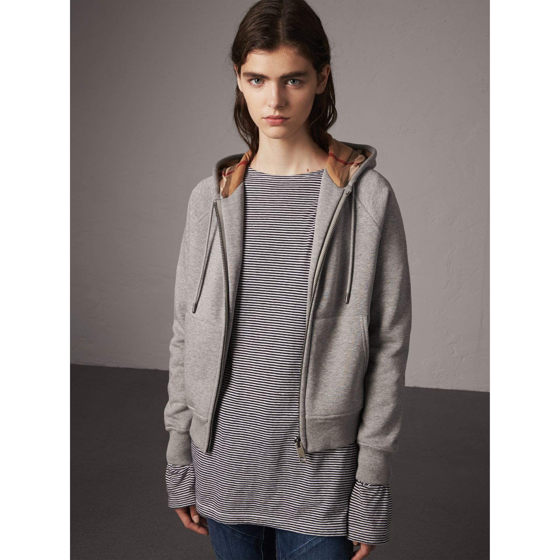 Hooded Zip-front Cotton Blend  Sweatshirt in Pale Grey Melange - Women | Burberry United Kingdom - gallery image 0