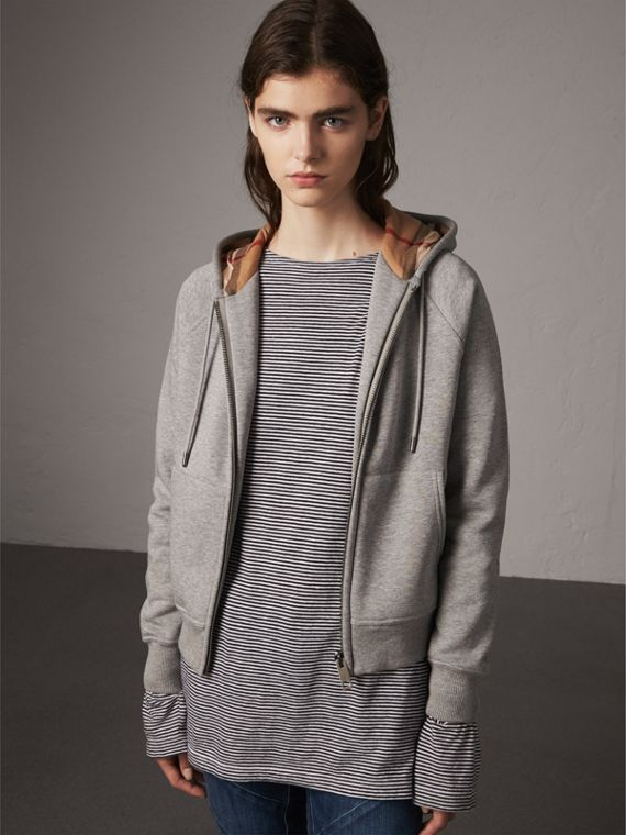Hooded Zip-front Cotton Blend  Sweatshirt in Pale Grey Melange