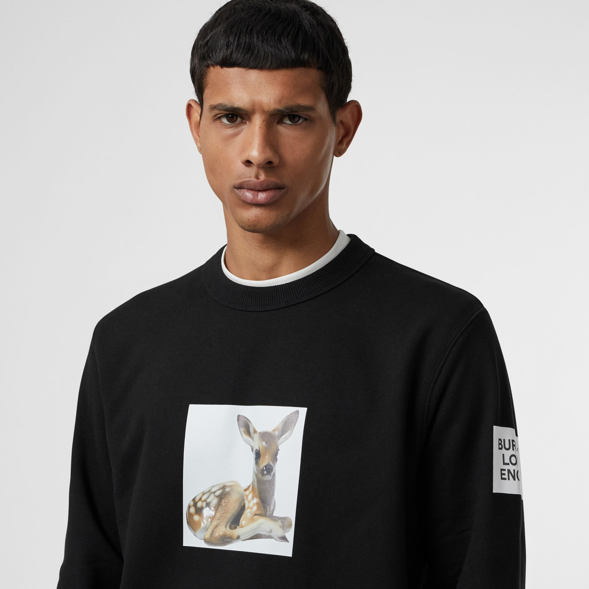 Deer Print Cotton Sweatshirt in Black - Men | Burberry Australia - gallery image 1