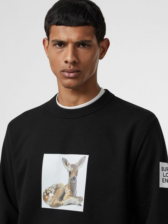 Deer Print Cotton Sweatshirt in Black