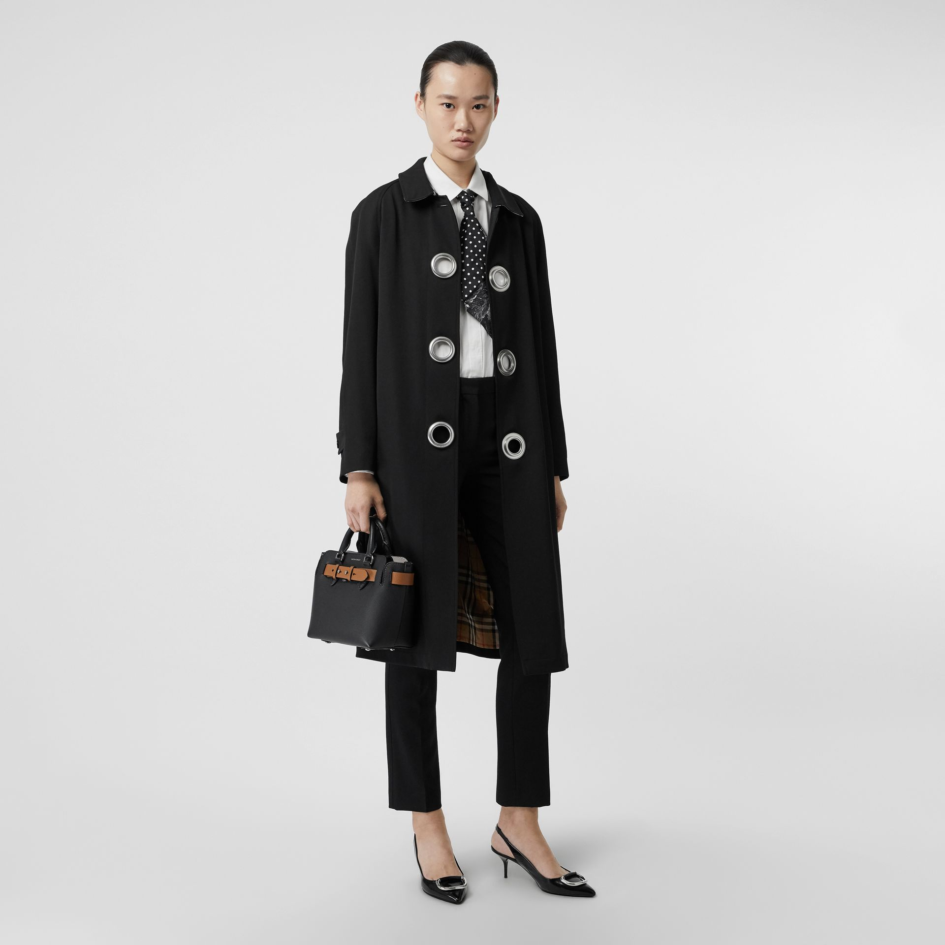 Grommet Detail Wool Gabardine Car Coat in Black - Women | Burberry Canada - gallery image 0