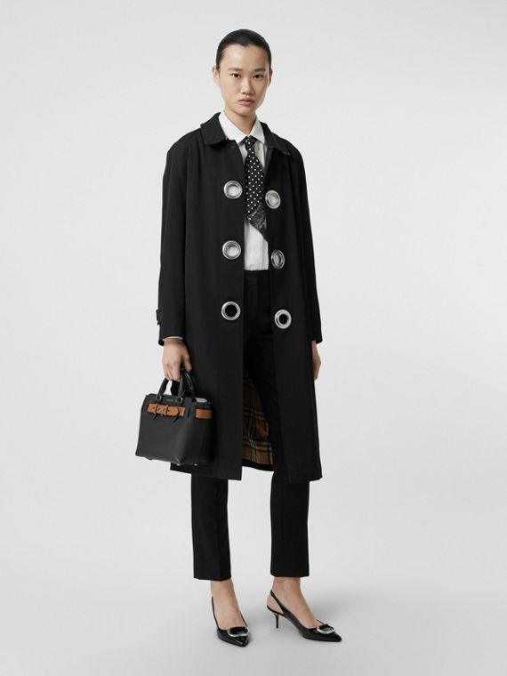 Grommet Detail Wool Gabardine Car Coat in Black
