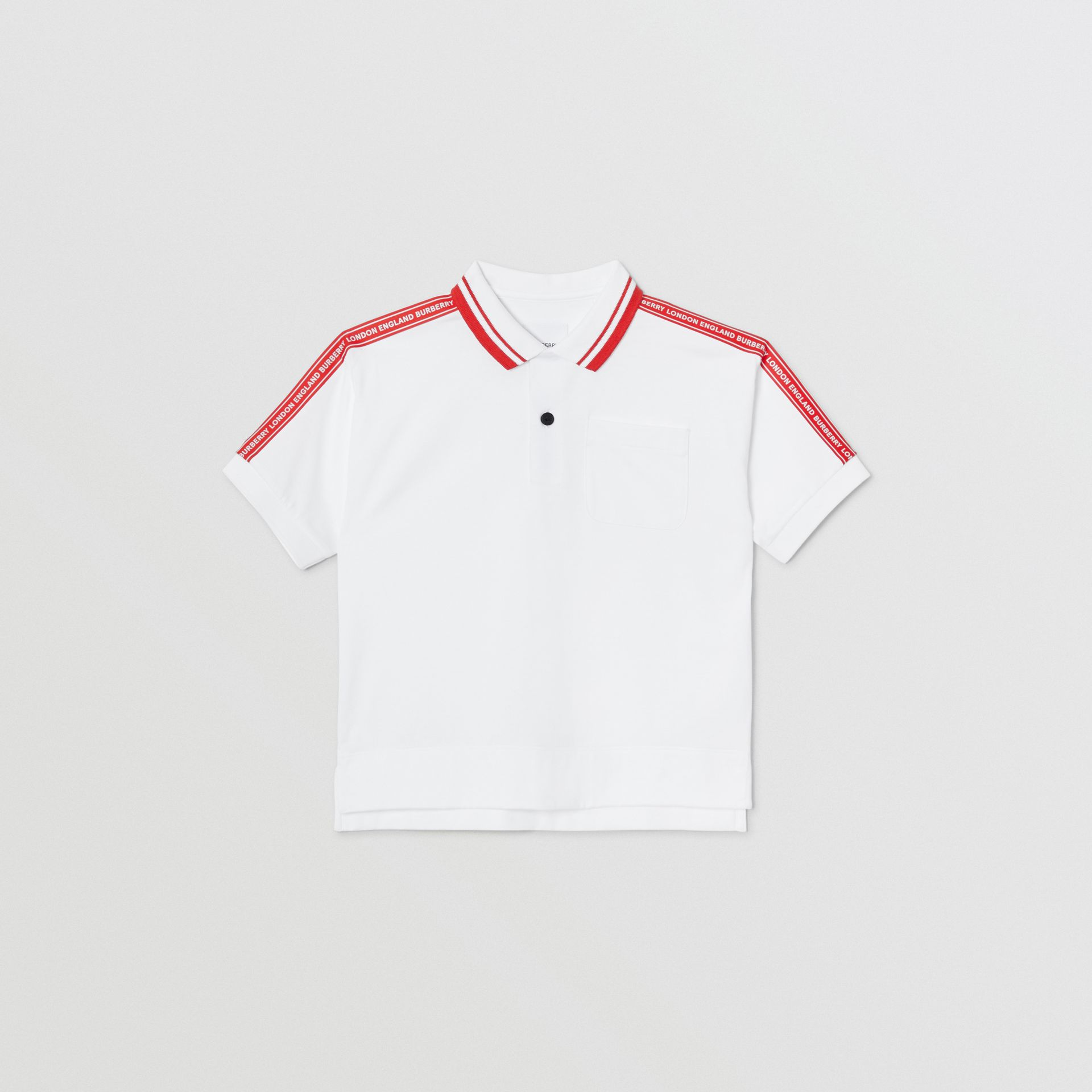 Logo Tape Cotton Polo Shirt in White | Burberry United States - gallery image 0