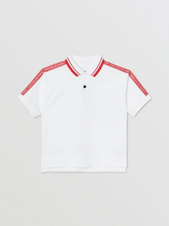 Logo Tape Cotton Polo Shirt in White