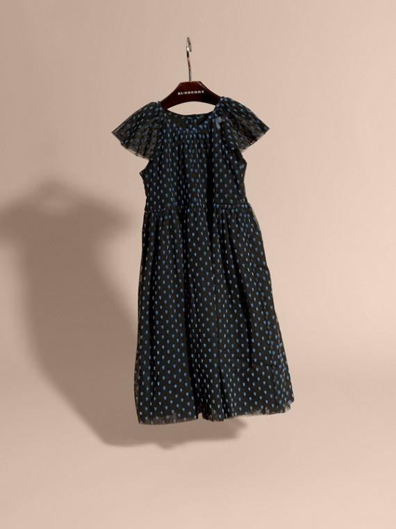 Negro Vestido de tul de algodón plisado con detalles aterciopelados - cell image 2