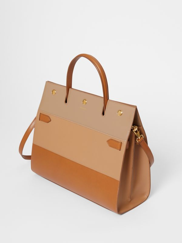 Medium Panelled Leather Title Bag in Soft Fawn - Women | Burberry - cell image 3