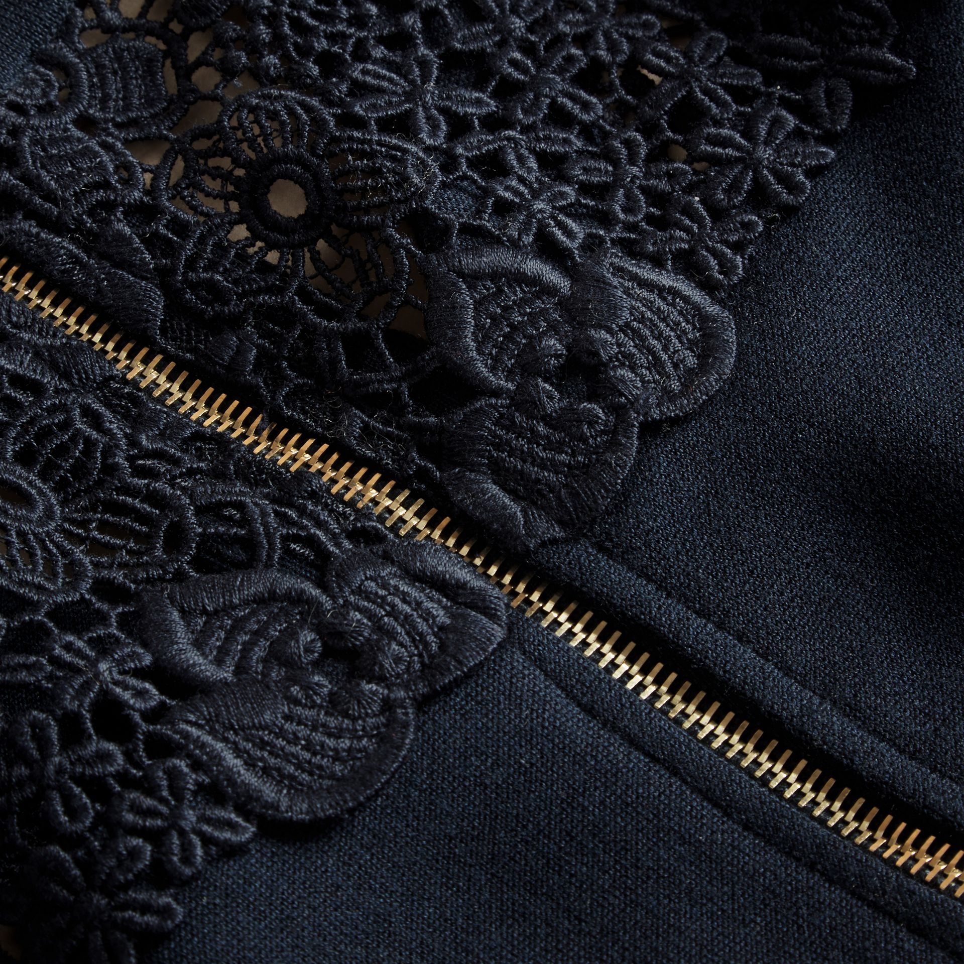 Navy Macramé Lace Detail Silk Blend Dress Navy - gallery image 2