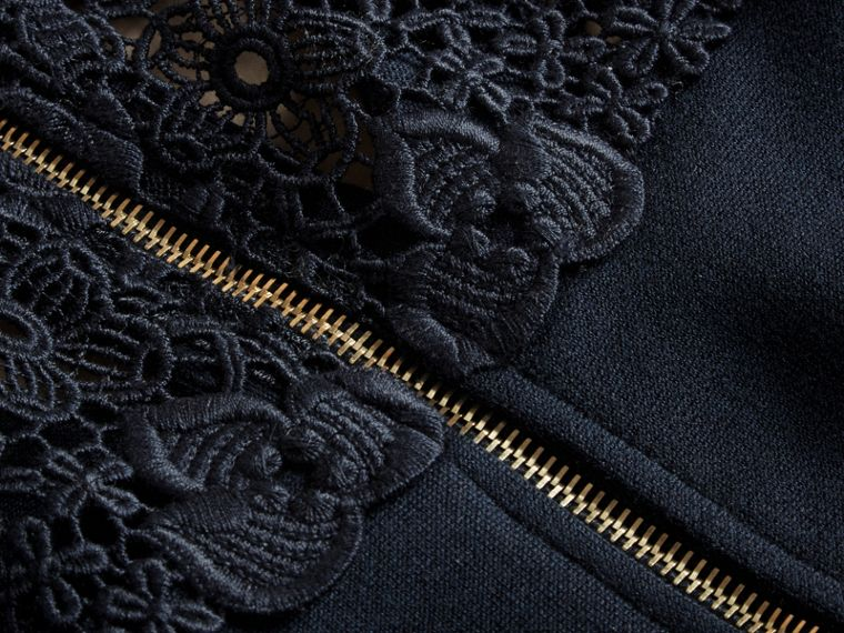 Navy Macramé Lace Detail Silk Blend Dress Navy - cell image 1