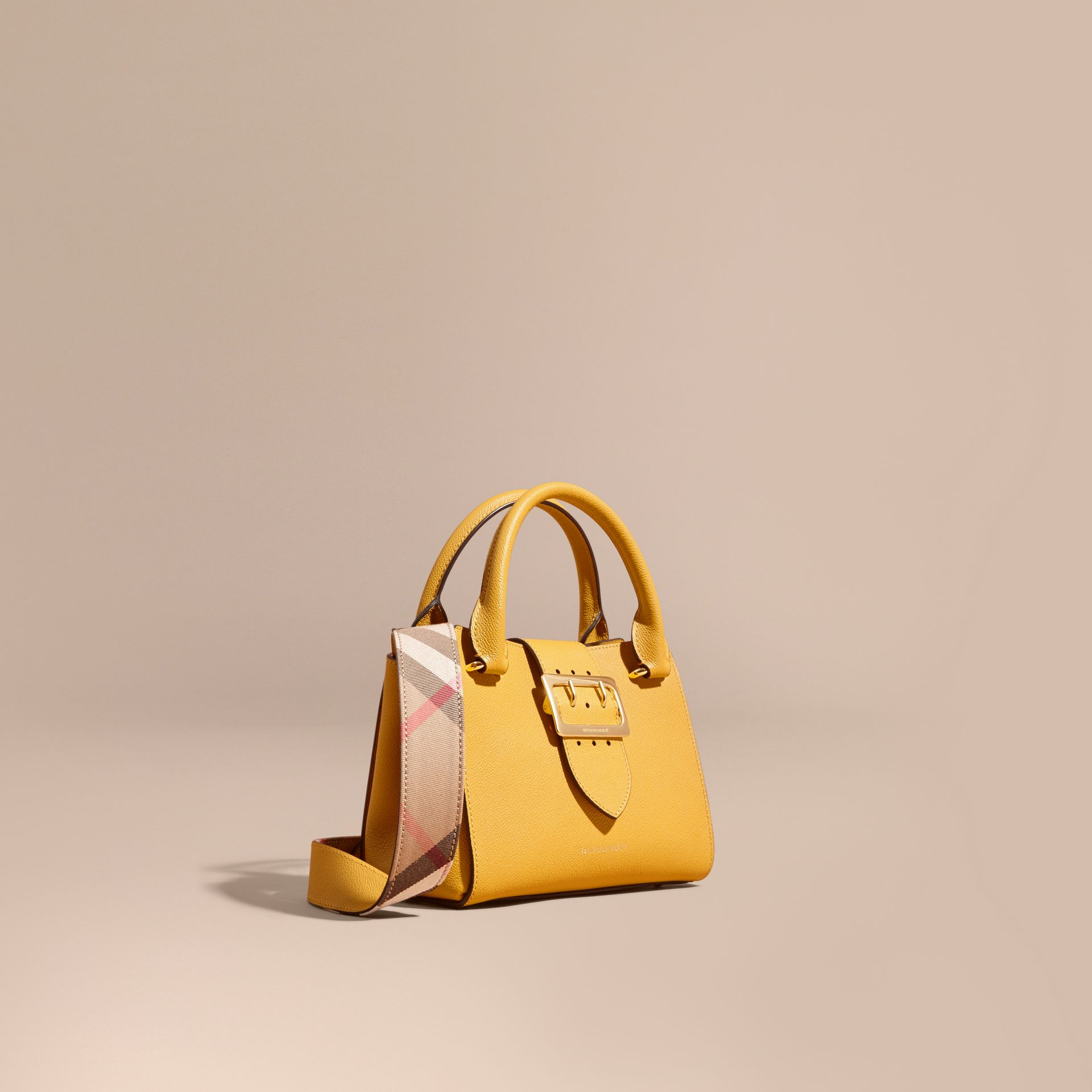 The Small Buckle Tote in Grainy Leather in Bright Straw - Women | Burberry Singapore - gallery image 1
