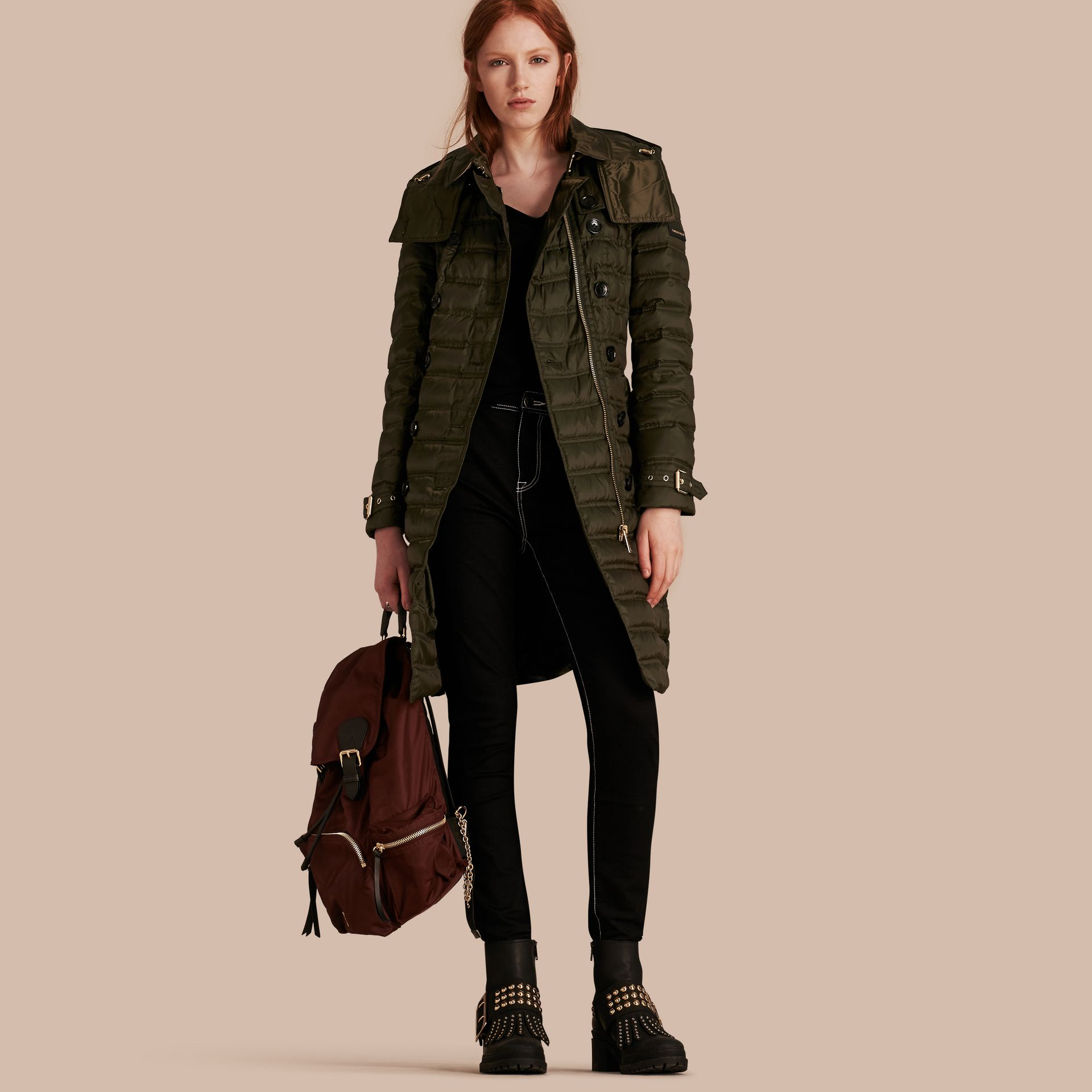 Down-filled Puffer Coat with Detachable Hood in Dark Olive - gallery image 1