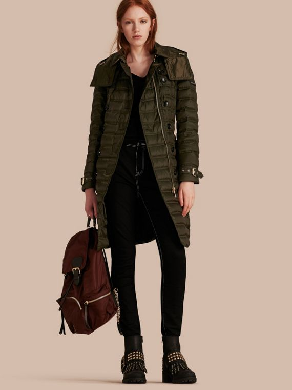 Down-filled Puffer Coat with Detachable Hood Dark Olive