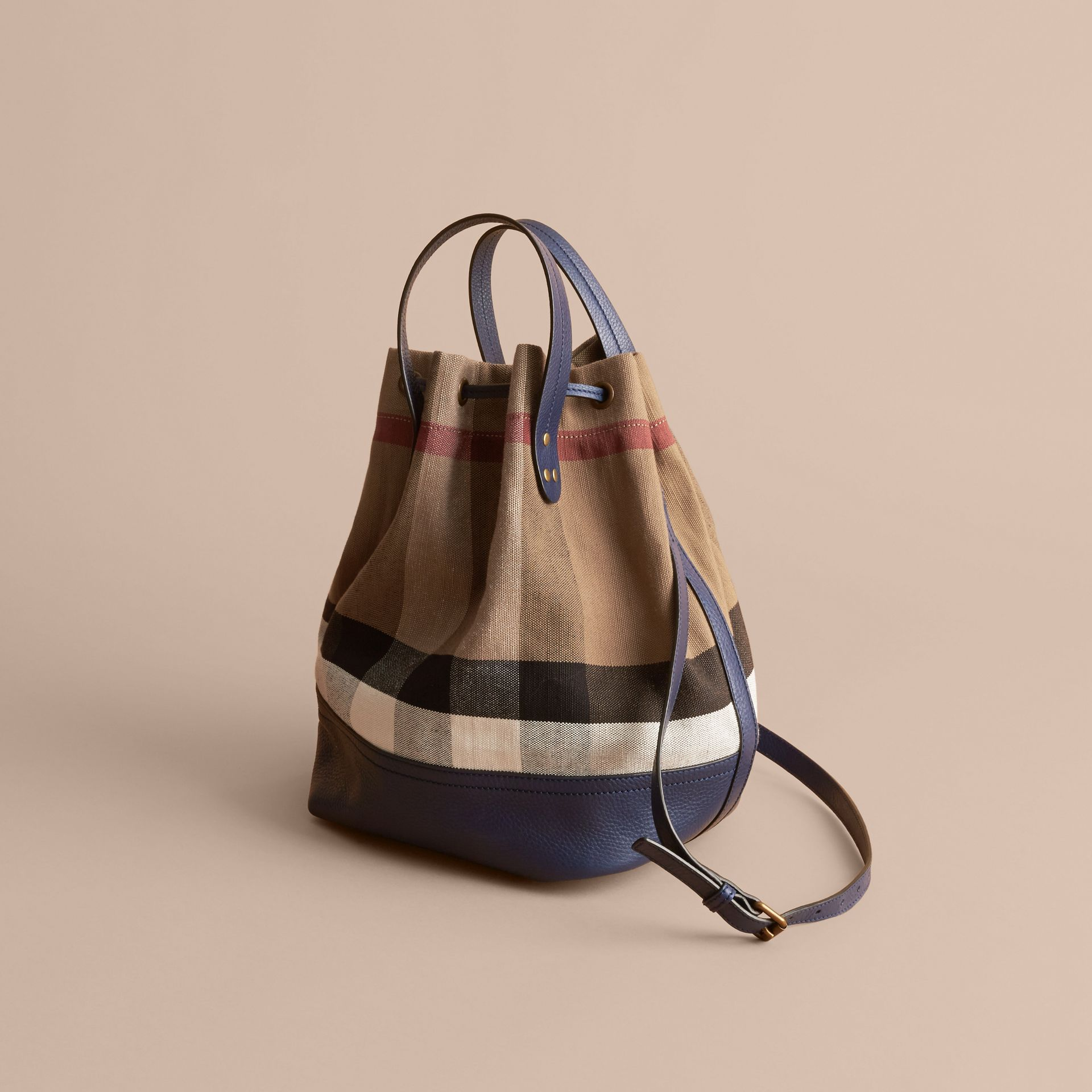Medium Canvas Check and Leather Bucket Bag in Brilliant Navy - Women | Burberry - gallery image 5