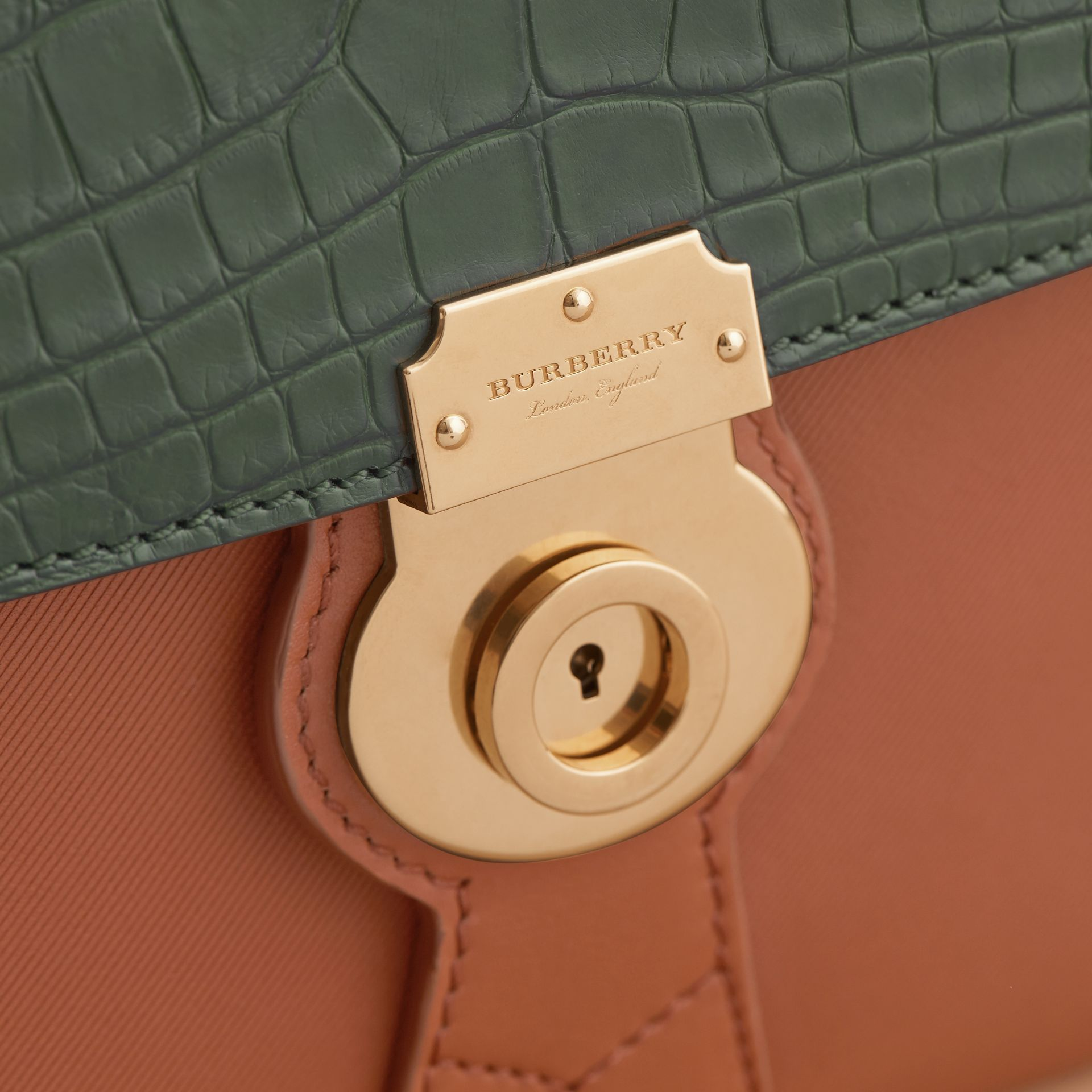 The Medium DK88 Top Handle Bag with Alligator in Tan/dark Forest Green - Women | Burberry - gallery image 2