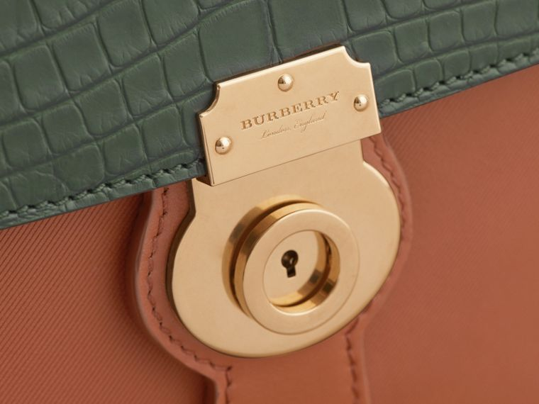 The Medium DK88 Top Handle Bag with Alligator in Tan/dark Forest Green - Women | Burberry - cell image 1
