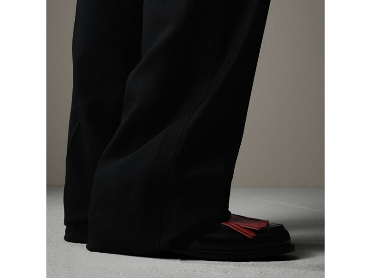 English Wool Mohair Barathea Tuxedo Trousers in Black - Men | Burberry Hong Kong - cell image 1