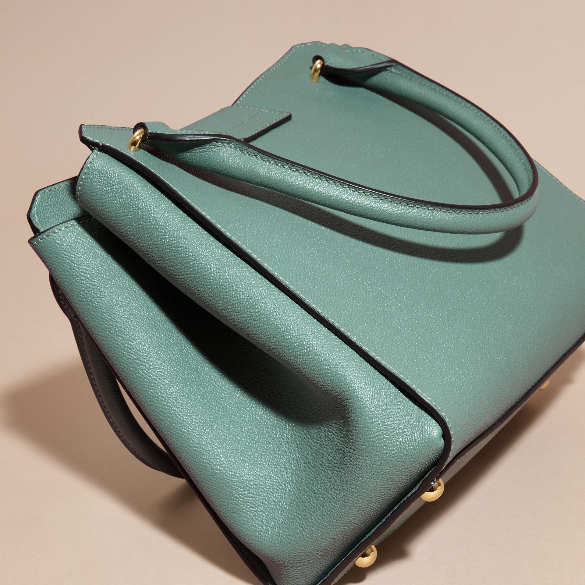 The Medium Buckle Tote in Grainy Leather in Eucalyptus Green - gallery image 4