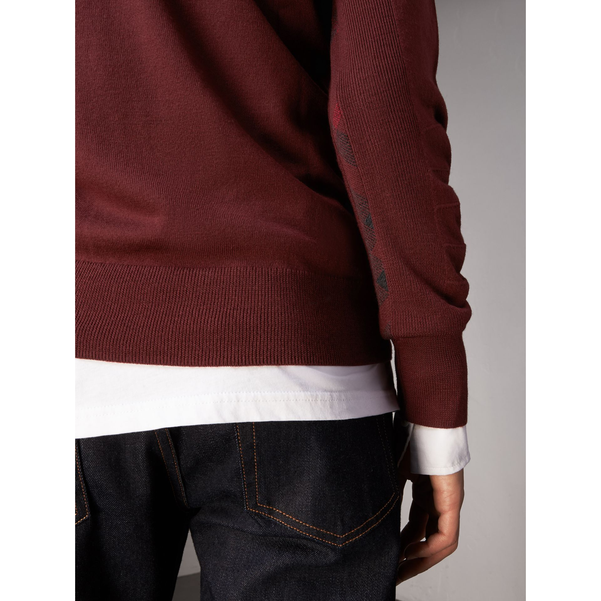 Check Detail Merino Wool Sweater in Burgundy - Men | Burberry Canada - gallery image 1
