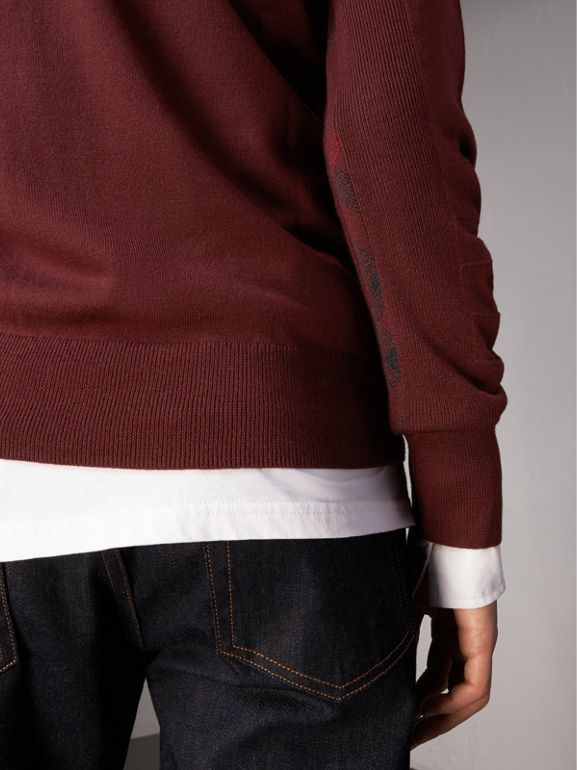Check Detail Merino Wool Sweater in Burgundy - Men | Burberry - cell image 1