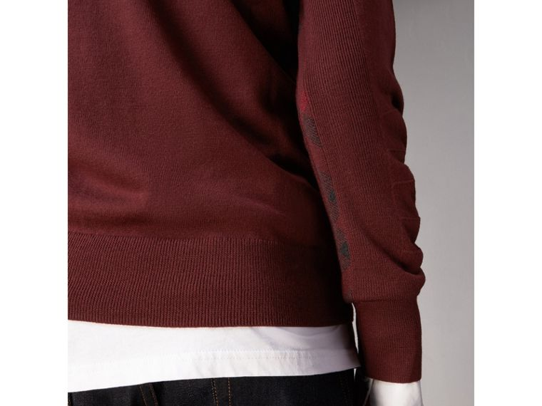 Check Detail Merino Wool Sweater in Burgundy - Men | Burberry Canada - cell image 1