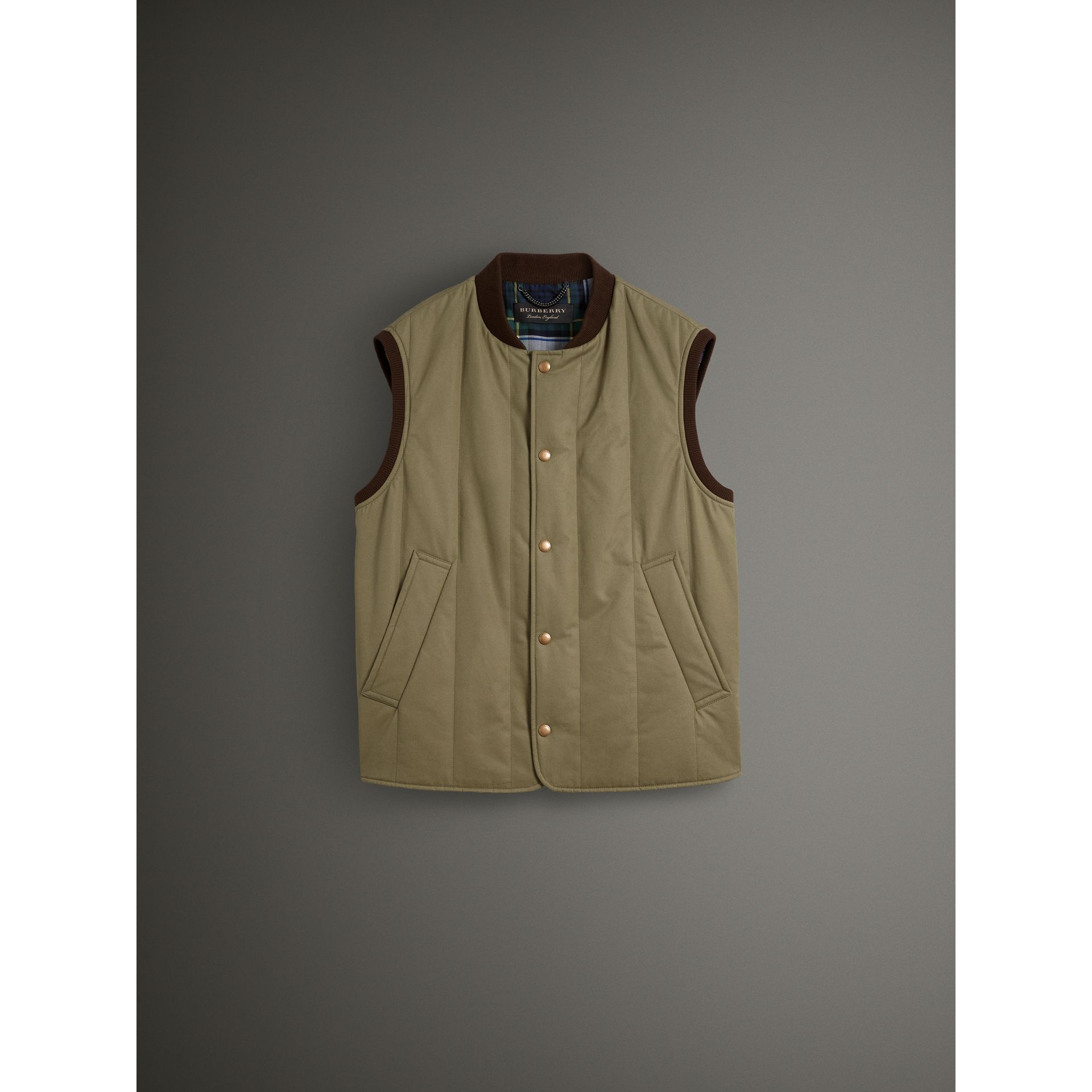 Quilted Cotton Poplin Gilet in Pale Olive - Men | Burberry - gallery image 3