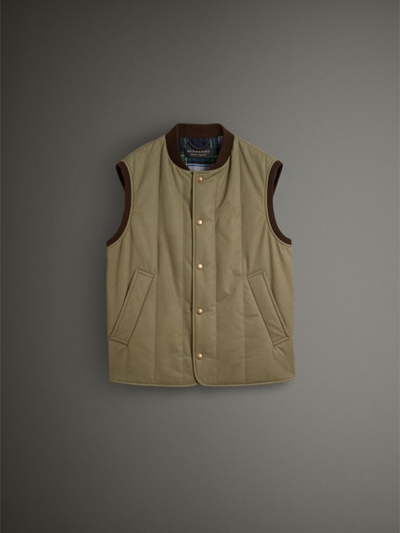 Quilted Cotton Poplin Gilet in Pale Olive - Men | Burberry United States - cell image 3