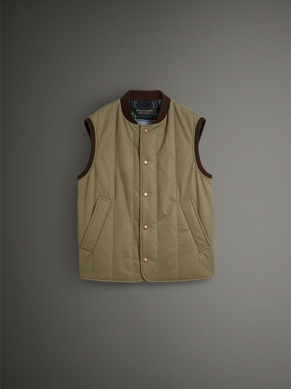 Quilted Cotton Poplin Gilet in Pale Olive - Men | Burberry - cell image 3