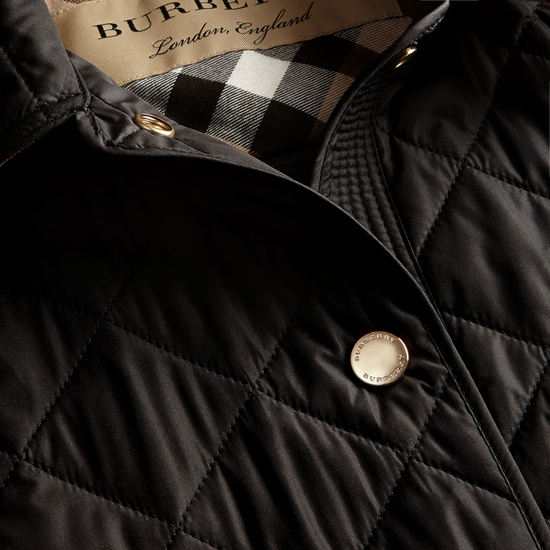 Black Check Detail Diamond Quilted Jacket Black - gallery image 2