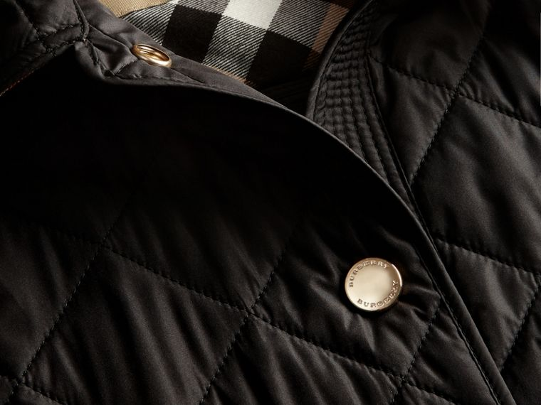 Black Check Detail Diamond Quilted Jacket Black - cell image 1